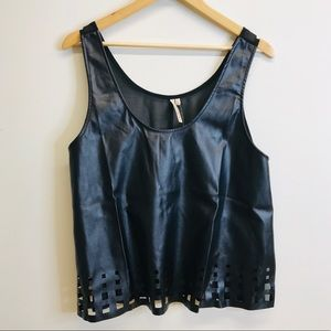 Black Faux Leather Sheer Back Crop Top Size XL